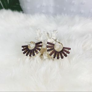 Brown Wood and Acrylic Fanned Statement Earrings